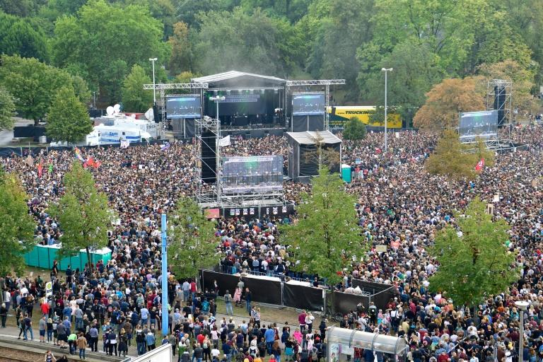 Organisers were expecting more than 20,000 in Chemnitz, but that had been far exceeded by early evening, with police saying that 5,000 people have arrived for the concert by trains from Leipzig alone, Saxony's biggest city