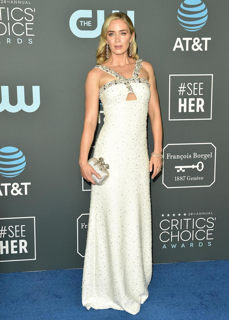 <p>Another style win from the 'Mary Poppins Returns' actress who wore Prada on the red carpet at the annual Critics' Choice Awards. <em>[Photo: Getty]</em> </p>