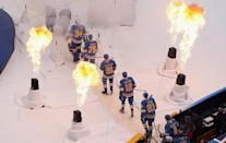 <p>ST. LOUIS, MO – JANUARY 2: Members of the St. Louis Blues walk to the ice prior to the start of the 2017 Bridgestone NHL Winter Classic against the Chicago Blackhawks at Busch Stadium on January 2, 2017 in St. Louis, Missouri. (Photo by Scott Kane/Getty Images) </p>