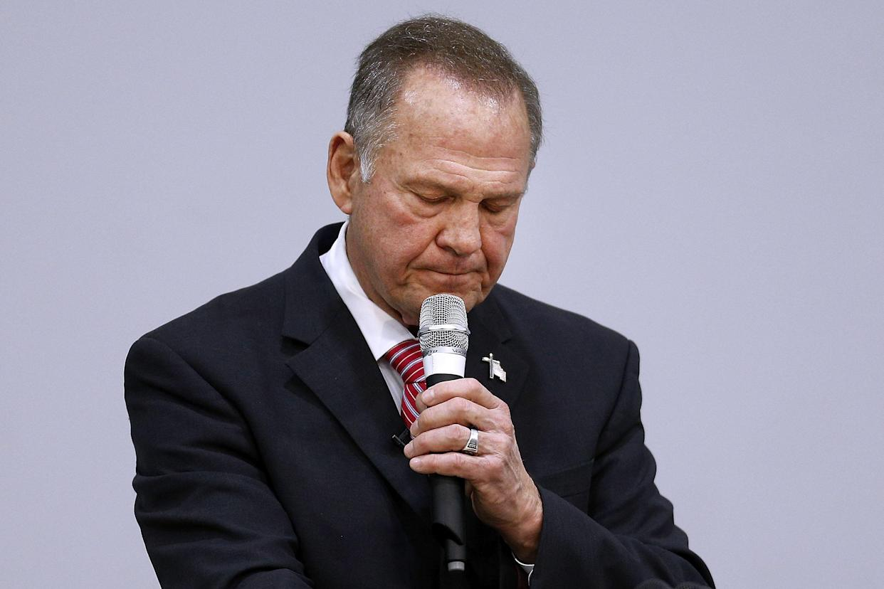 Roy Moore, Republican candidate for Senate from Alabama, during a campaign event on Tuesday. (Photo: Jonathan Bachman/Getty Images)