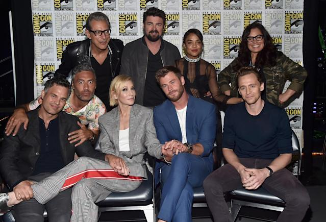 <p>The cast backstage. (Back row) Jeff Goldblum, Karl Urban, Tessa Thompson, Rachel House (front row) Mark Ruffalo, director Taika Waititi, Cate Blanchett, Chris Hemsworth, and Tom Hiddleston (Photo by Alberto E. Rodriguez/Getty Images) </p>