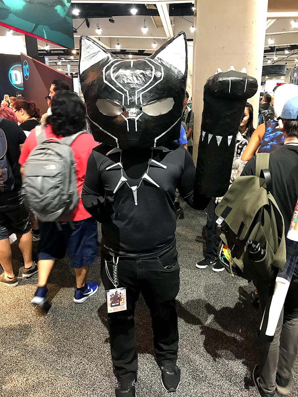 <p>Cosplayer dressed as <i>Black Panther</i> at Comic-Con International on July 21, 2018, in San Diego. (Photo: Angela Kim/Yahoo Entertainment) </p>