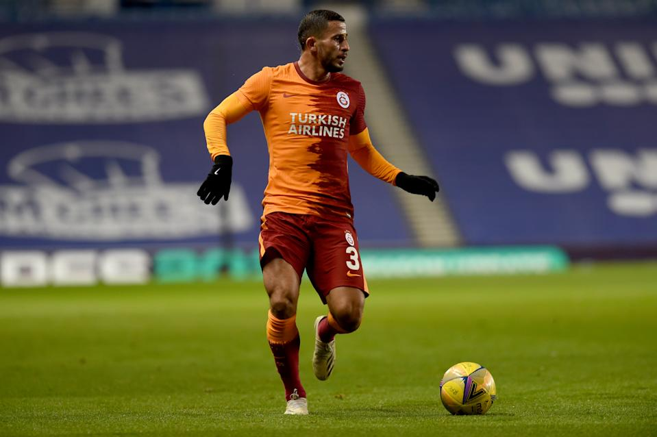 GLASGOW, SCOTLAND - OCTOBER 01: Omar Elabdellaoui of Galatasaray in action during the UEFA Europa League playoff match between Rangers and Galatasaray at Ibrox Stadium in Glasgow, Scotland on October 01, 2020. (Photo by Kate Green/Anadolu Agency via Getty Images)