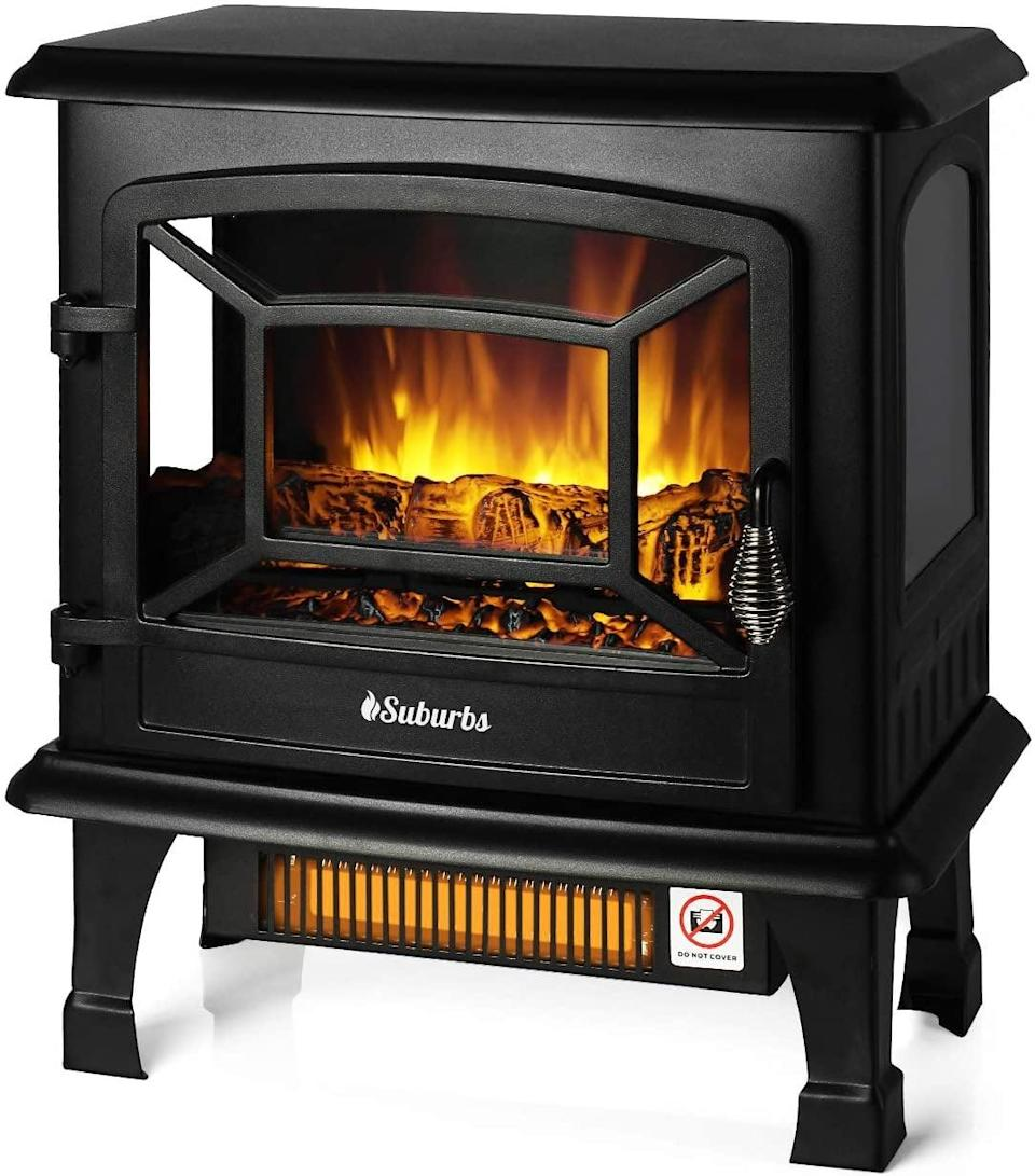 <p>Warm up with this <span>Turbro Suburbs TS20 Electric Fireplace Infrared Heater</span> ($118).</p>