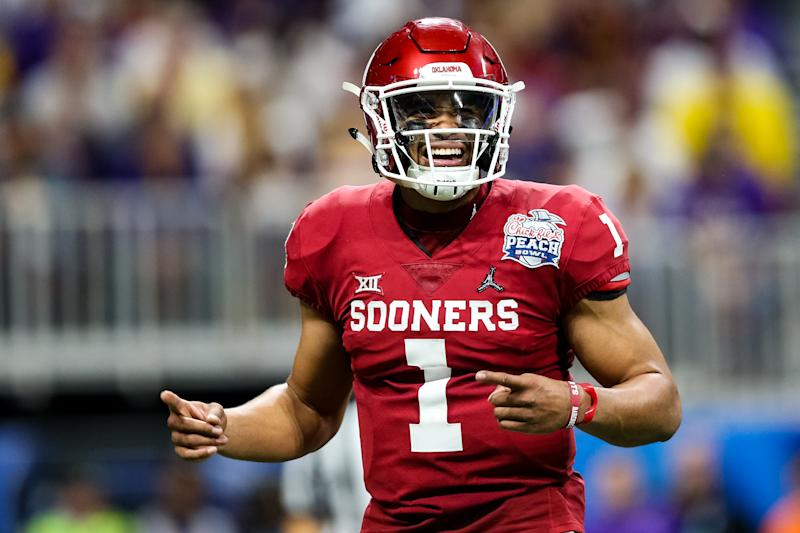 Jalen Hurts has to be happy he went so high. Everyone else besides the Philadelphia Eagles was fairly surprised. (Photo by Carmen Mandato/Getty Images)
