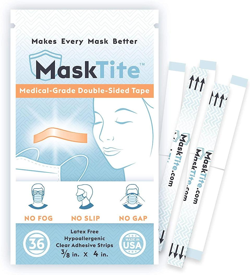 "<br><br><strong>MaskTite</strong> Face Mask Tape, No Fogging Glasses, $, available at <a href=""https://amzn.to/2Mcy1if"" rel=""nofollow noopener"" target=""_blank"" data-ylk=""slk:Amazon"" class=""link rapid-noclick-resp"">Amazon</a>"