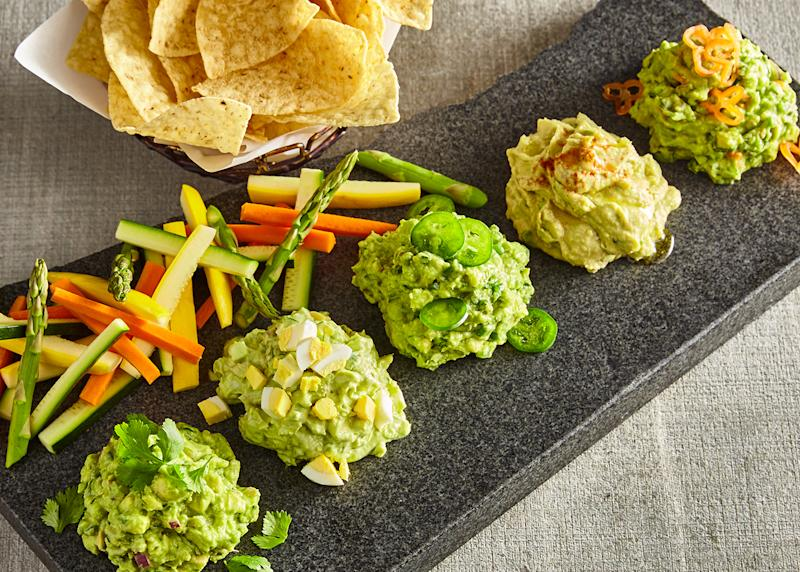 AvoEatery offers guac lovers a guacamole sampler with a choice of five different types of guacamole, including a guacamole hummus.