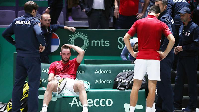 Serbia's players were inconsolable after their Davis Cup defeat to Russia.