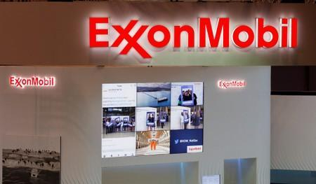 Logos of ExxonMobil are seen in its booth at Gastech, the world's biggest expo for the gas industry, in Chiba