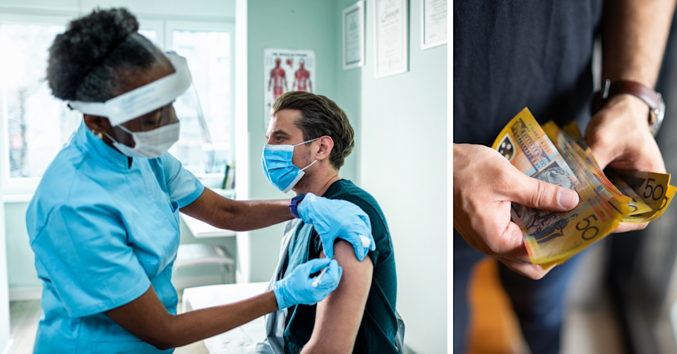 A young man receiving a vaccine injection and a young man holding Australian $50 notes.