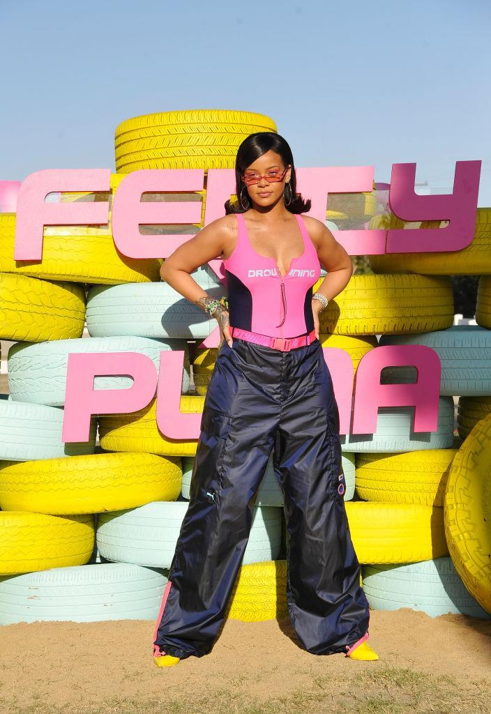 <p>Rihanna attends the Fenty x Puma Drippin event and wears a neon look from her line at Coachella on April 14 this spring in Thermal, Calif. (Photo: John Sciulli/Getty Images for PUMA) </p>
