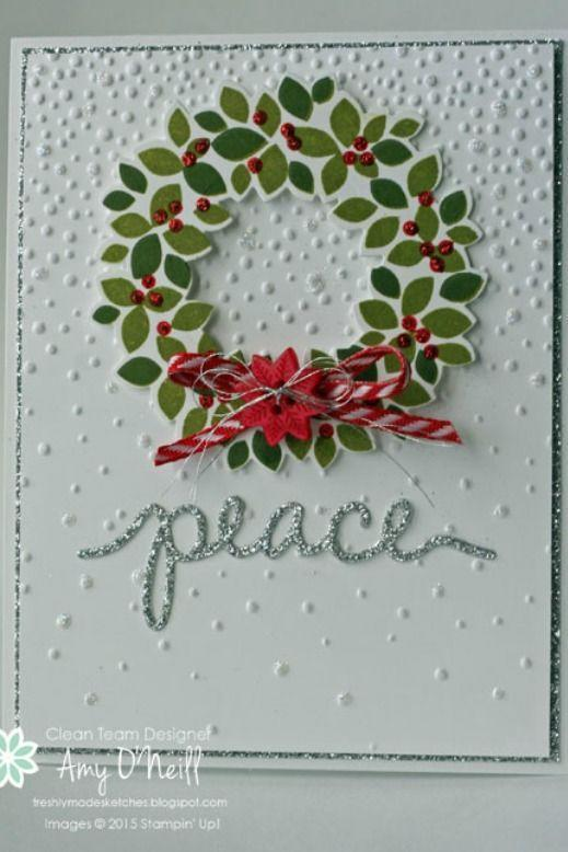"""<p>Add a little DIY sparkle to your holiday card with this wreath-inspired <em>peace </em>of art. </p><p><strong>Get the tutorial at <a href=""""https://amyoneillblog.com/2015/10/21/wreath-of-silver-peace-fms209/"""" rel=""""nofollow noopener"""" target=""""_blank"""" data-ylk=""""slk:Amy's Paper Crafts"""" class=""""link rapid-noclick-resp"""">Amy's Paper Crafts</a>.</strong></p><p><a class=""""link rapid-noclick-resp"""" href=""""https://www.amazon.com/Darice-GX-2200-18-20-Piece-Stock-12-Inch/dp/B0086XIDH0/?tag=syn-yahoo-20&ascsubtag=%5Bartid%7C10050.g.3872%5Bsrc%7Cyahoo-us"""" rel=""""nofollow noopener"""" target=""""_blank"""" data-ylk=""""slk:SHOP WHITE CARDSTOCK PAPER"""">SHOP WHITE CARDSTOCK PAPER</a></p>"""