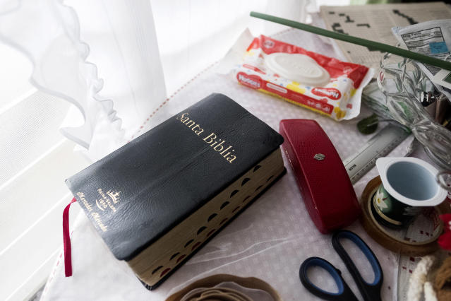 Mercedes's Bible lies on a table in the dinning room. (Photo: Jose R. Madera for Yahoo News)