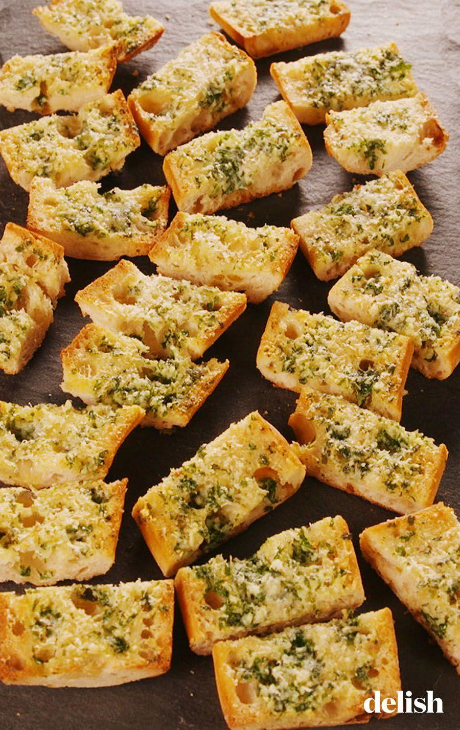 "<p>The secret to really good garlic bread is to keep it simple. And to use a lot of garlic—4 cloves for one loaf! </p><p>Get the recipe from <a href=""https://www.delish.com/cooking/recipe-ideas/a24803098/easy-garlic-bread-recipe/"" rel=""nofollow noopener"" target=""_blank"" data-ylk=""slk:Delish"" class=""link rapid-noclick-resp"">Delish</a>.</p>"