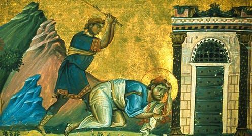 """<span class=""""caption"""">Saint James the Lesser is believed to have been martyred in AD 70.</span> <span class=""""attribution""""><a class=""""link rapid-noclick-resp"""" href=""""https://en.wikipedia.org/wiki/James_the_Less#/media/File:Saint_James_the_Less_(Menologion_of_Basil_II).jpg"""" rel=""""nofollow noopener"""" target=""""_blank"""" data-ylk=""""slk:Wikicommons"""">Wikicommons</a></span>"""