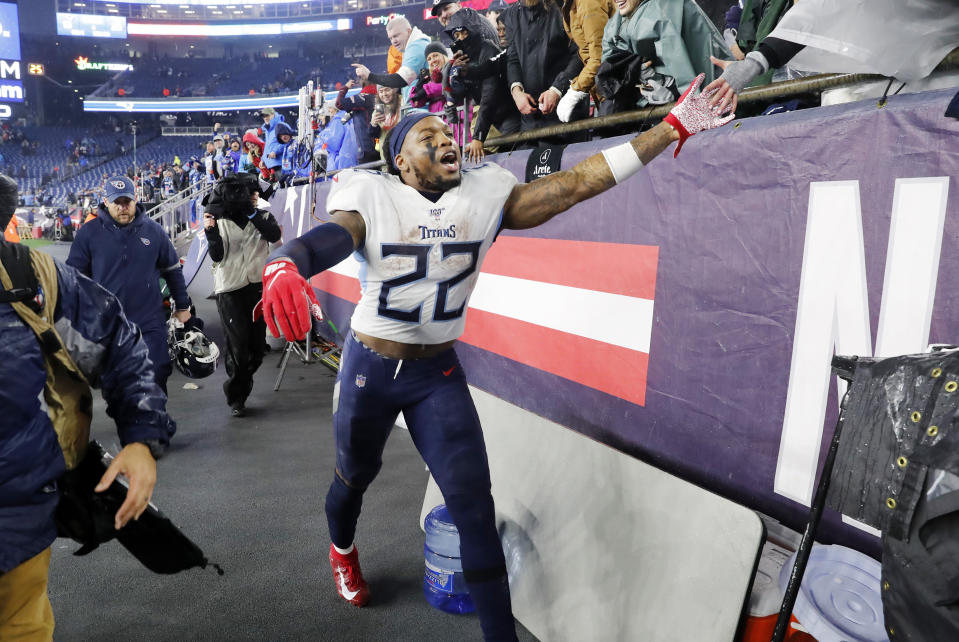 FOXBOROUGH, MA - JANUARY 04: Tennessee Titans running back Derrick Henry (22) thanks the fans after an AFC Wild Card game between the New England Patriots and the Tennessee Titans on January 4, 2020, at Gillette Stadium in Foxborough, Massachusetts. (Photo by Fred Kfoury III/Icon Sportswire via Getty Images)