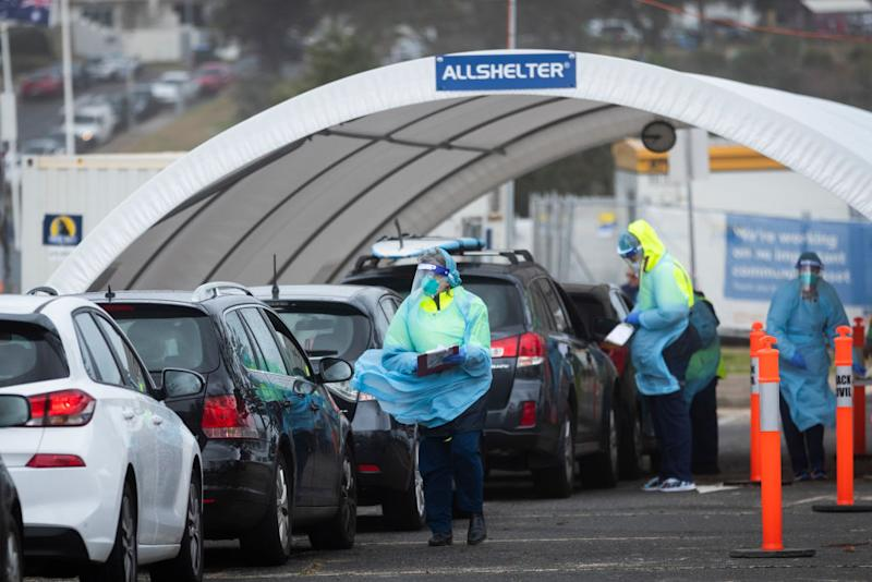 Tests are carried out at the Bondi Beach COVID-19 drive-thru testing clinic. Source: Getty