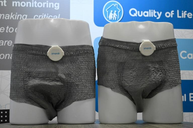 The Smardii connected diaper is seen on display atr the 2020 Consumer Electronics Show in Las Vegas (AFP Photo/Robyn Beck)