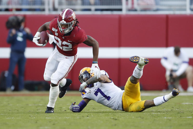 This was one of four missed tackles by LSU's Grant Delpit against Alabama. (Photo by Todd Kirkland/Getty Images)