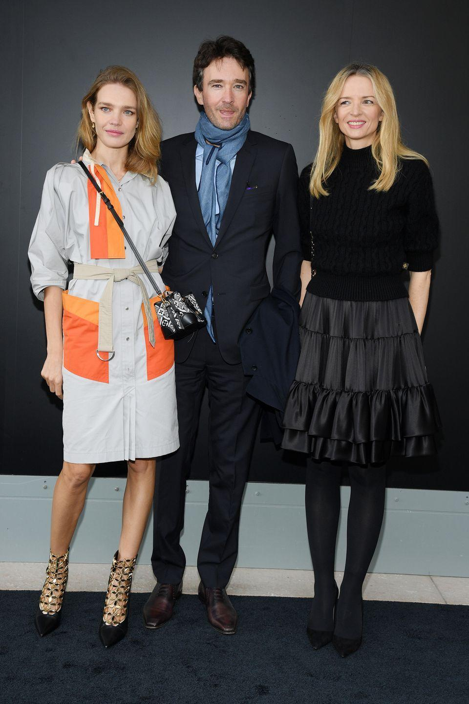 <p><strong>6 October</strong> Natalia Vodianova posed with Antoine Arnault and Delphine Arnault at the show. </p>
