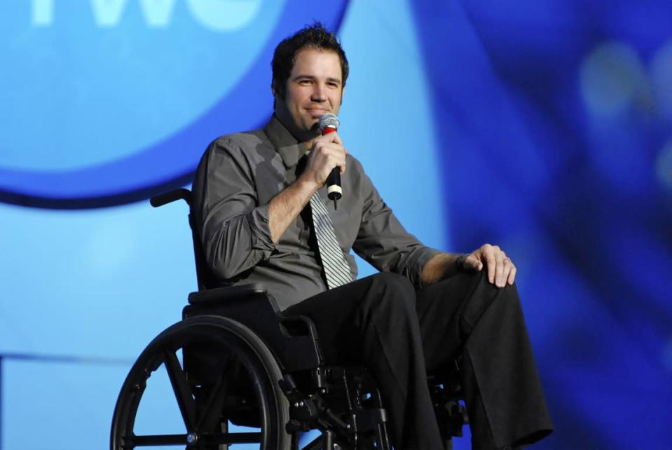 At one point, David Osmond needed to use a wheelchair because of his MS symptoms. (Photo courtesy of David Osmond)