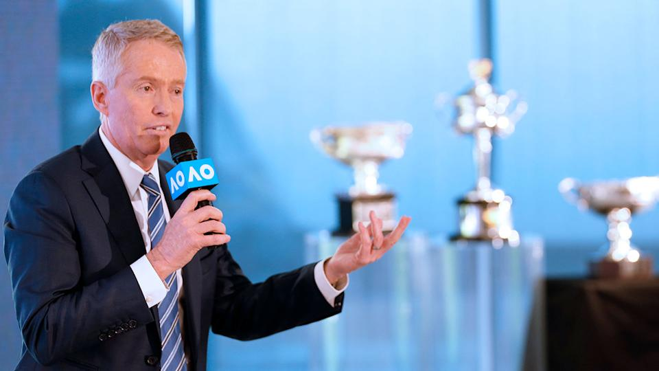 Australian Open tournament director Craig Tiley is seen here addressing media.