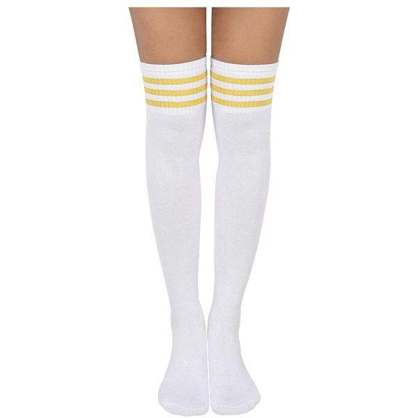 "$11, Amazon. <a href=""https://www.amazon.com/HDE-Women-Three-Stripe-Athletic/dp/B07S9GNYWY/ref=sr_1_4?dchild=1&keywords=long%2Bsport%2Bsocks&qid=1569521485&sr=8-4&th=1"" rel=""nofollow noopener"" target=""_blank"" data-ylk=""slk:Get it now!"" class=""link rapid-noclick-resp"">Get it now!</a>"