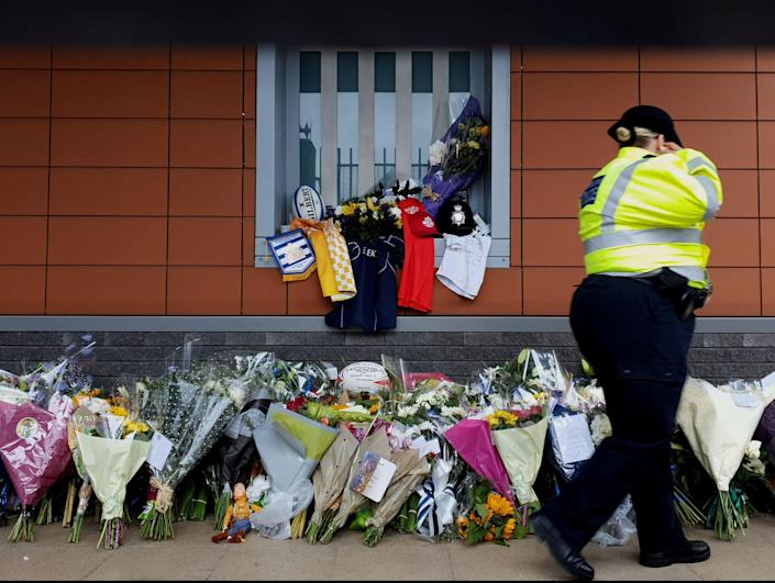 Flowers outside Croydon Custody Centre in south London following the death of Sgt Matt Ratana (PA)