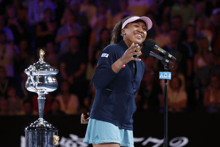 Tennis - Australian Open - Women's Singles Final - Melbourne Park, Melbourne, Australia, January 26, 2019. Japan's Naomi Osaka gives a speech after winning her match against Czech Republic's Petra Kvitova. REUTERS/Adnan Abidi