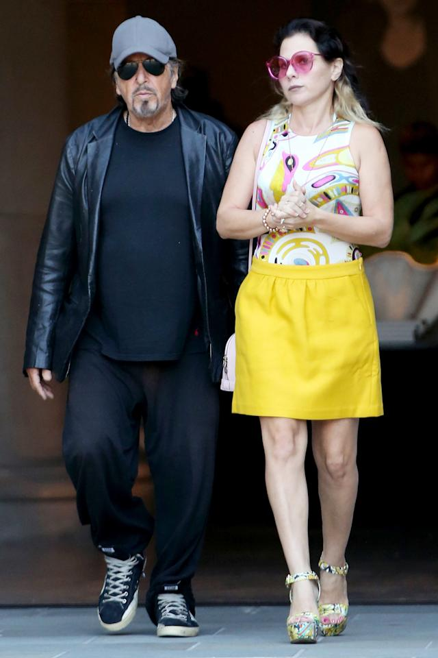 """The 79-year-old actor has been linked to Israeli actress Dohan, 40. The pair were <a href=""""https://people.com/movies/al-pacino-steps-out-meital-dohan-los-angeles/"""">first spotted out and about in September</a><a href=""""https://people.com/movies/al-pacino-steps-out-meital-dohan-los-angeles/""""> 2</a><a href=""""https://people.com/movies/al-pacino-steps-out-meital-dohan-los-angeles/"""">018</a>, and were most recently seen together at the <a href=""""https://people.com/movies/al-pacino-takes-his-girlfriend-and-teenage-daughter-as-dates-to-the-irishman-premiere/"""">premiere of Pacino's film, <em>The Irishman</em></a>. Pacino brought Dohan to the event along with his teenage daughter, Olivia.  Neither Dohan or Pacino have commented on their relationship.  <strong>Age Gap: 39 Years</strong>"""