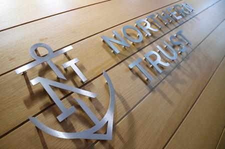 A company logo is seen at Northern Trust offices in London