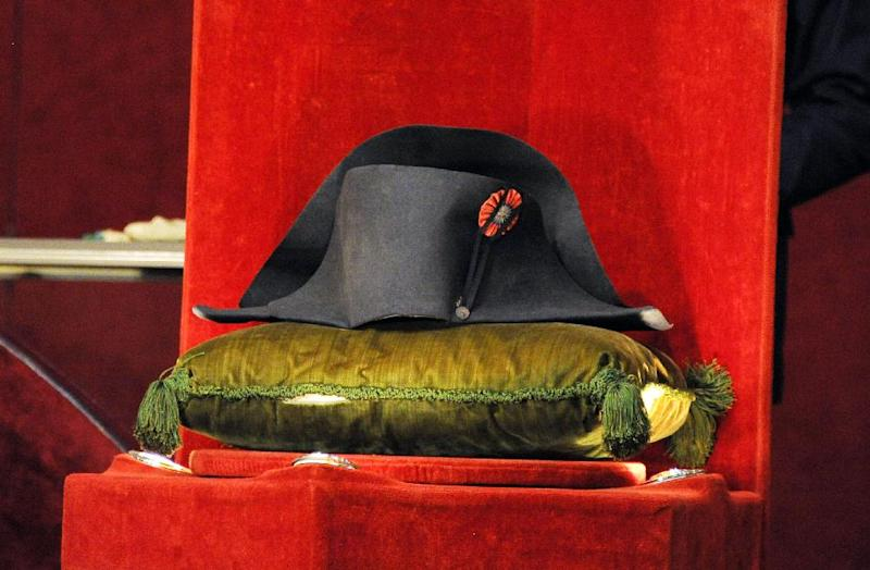 One of Napoleon's famous two-pointed hats on display at the Osenat auction house outside Paris, where it was sold to a South Korean collector for 1.8 million euros ($2.2 million) (AFP Photo/Dominique Faget)