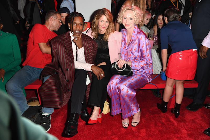 NEW YORK, NY - SEPTEMBER 11: A$AP Rocky, Lauren Dern and Gwendoline Christie attend the Calvin Klein Collection front Row during New York Fashion Week at New York Stock Exchange on September 11, 2018 in New York City. (Photo by Nicholas Hunt/Getty Images)