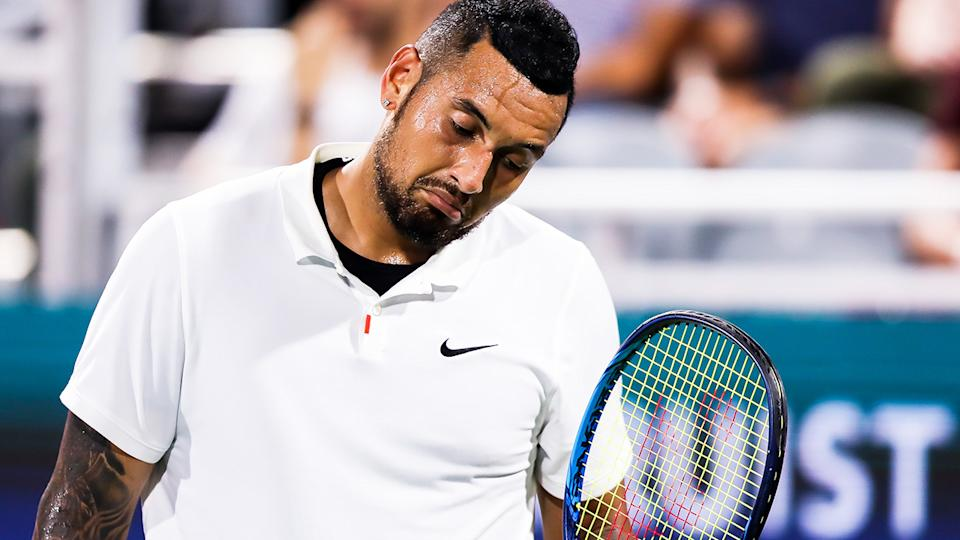 Nick Kyrgios openly questioned his motivation after he was bundled out of the first round of the Citi Open in straight sets. (Photo by Casey Sykes/Getty Images)