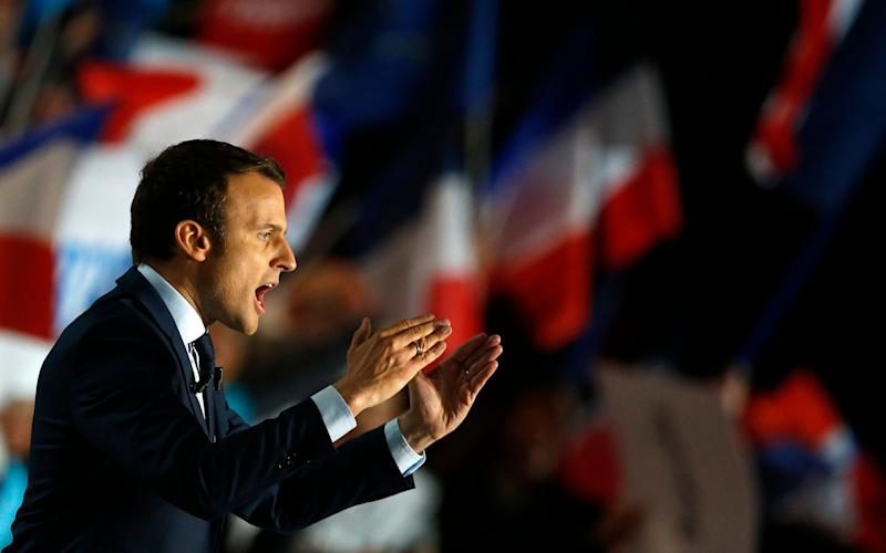 Emmanuel Macron speaks at a rally in Marseille, Southern France, April 1 - Credit: GUILLAUME HORCAJUELO/EPA