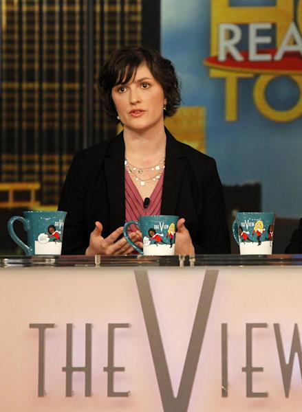 """Georgetown University law student and activist Sandra Fluke speaks during an appearance on the daytime talk show, """"The View,"""" Monday, March 5, 2012 in New York. Fluke talked about conservative radio host Rush Limbaugh and the comments he made on his program after she testified to Democratic members of Congress in support of a requirement that health care companies provide coverage for contraception. Fluke told ABC's """"The View"""" on Monday that she hasn't heard from Limbaugh since he issued a written apology late Saturday. (AP Photo/ABC, Lou Rocco)"""