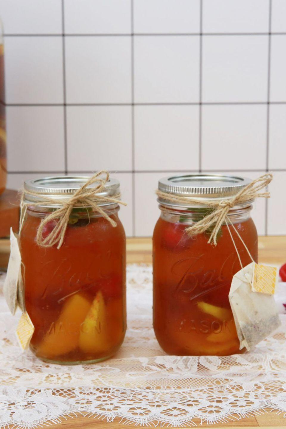 """<p>It's not exactly the sweet tea your grandma will remember. It's better a.k.a. boozier. </p><p><em><a href=""""https://www.countryliving.com/food-drinks/recipes/a43403/sweet-tea-sangria-recipe/"""" rel=""""nofollow noopener"""" target=""""_blank"""" data-ylk=""""slk:Get the recipe from Country Living »"""" class=""""link rapid-noclick-resp"""">Get the recipe from Country Living »</a></em></p>"""