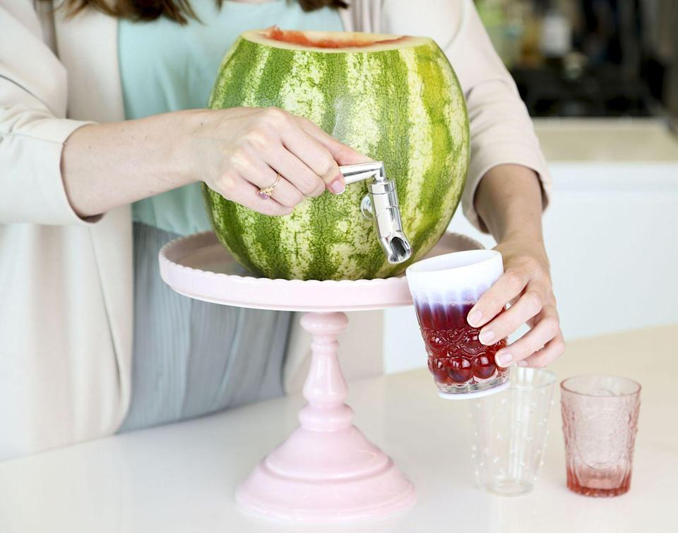 """<p>A classic idea but always a party winner, the watermelon keg is what your next poolside gathering needs. The concept is simple: Big juicy melon, your favorite fruity elixir (loaded or virgin) and a fun little tap to keep the drinks flowing.</p><p><em><a href=""""https://www.goodhousekeeping.com/food-recipes/how-to/a23788/how-to-make-a-watermelon-keg/"""" rel=""""nofollow noopener"""" target=""""_blank"""" data-ylk=""""slk:Get the tutorial »"""" class=""""link rapid-noclick-resp"""">Get the tutorial »</a></em> </p>"""