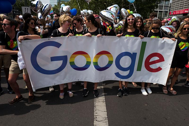 Participants hold up a Google banner during Berlin's annual Christopher Street Day (CSD) gay pride parade on July 22, 2017. Photo: JOHN MACDOUGALL/AFP/Getty Images