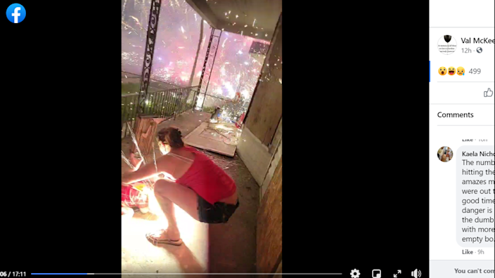 A firework, or piece of shrapnel from a firework, flies toward a young girl's face.