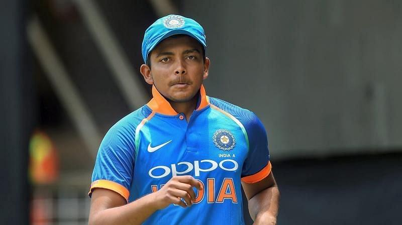 Prithvi Shaw has made the Test squad but has been left out of the ODIs