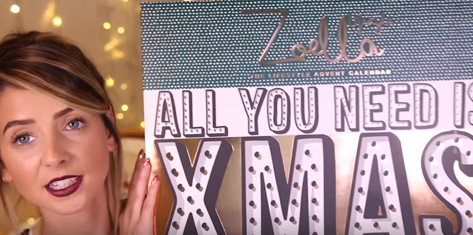 Zoe previously said she was 'very, very proud' of the advent calendar. Copyright: [YouTube]