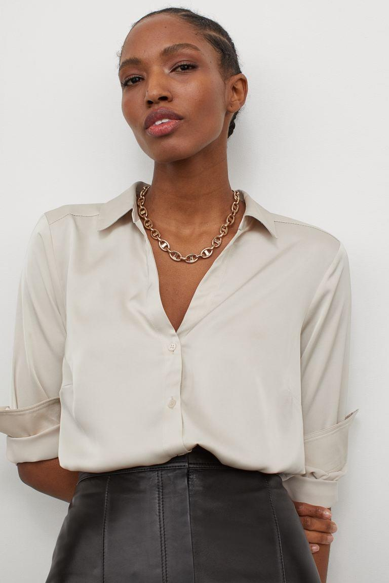<p>This <span>V-neck Blouse</span> ($18) has an understated elegance. </p>