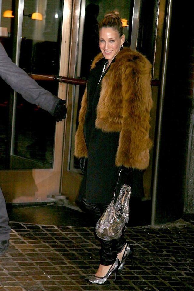 "Sarah Jessica Parker arrives for a screening of ""Revolver"" wearing a fur coat and leather pants. Apparently the ""Sex and the City"" star skinned Chewbacca en route to the theater. Johns Pkl/<a href=""http://www.splashnewsonline.com"" target=""new"">Splash News</a> - December 2, 2007"