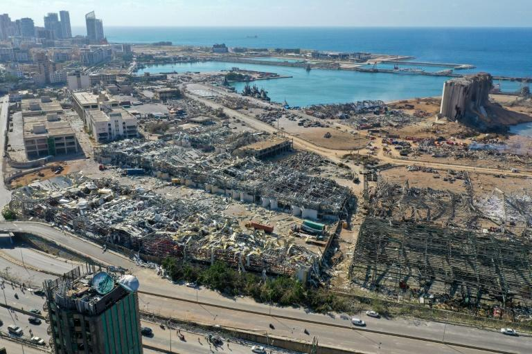 An aerial view shows the massive damage done to Beirut port's grain silos after a mega-blast tore through the harbor (AFP Photo/-)