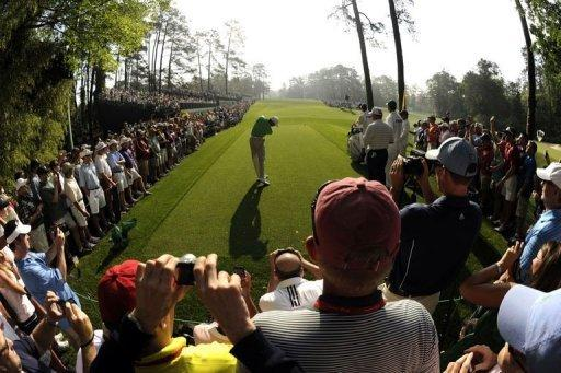 Tiger Woods tees off during a practice round prior to the start of the Masters in Augusta, Gerogia