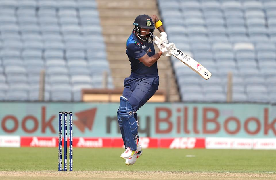 India batsman KL Rahul picks up some runs during the 2nd One Day International between India and England at MCA Stadium on March 26, 2021 in Pune, India. (Photo by Surjeet Yadav/Getty Images)