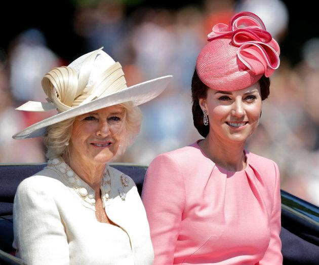 The Duchess of Cornwall and the Duchess of Cambridge during the Trooping of the Colour Parade last year