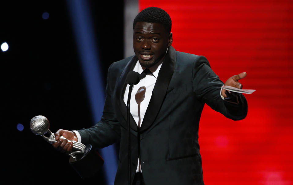 """49th NAACP Image Awards – Show – Pasadena, California, U.S., 15/01/2018 – Daniel Kaluuya wins the Outstanding Actor in a Motion Picture award for """"Get Out."""" REUTERS/Mario Anzuoni"""