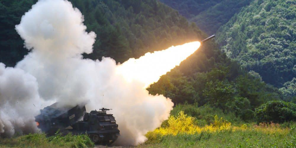 An M270 multiple launch rocket system fires during a live fire exercise at Rocket Valley, South Korea, Sep. 15, 2017.